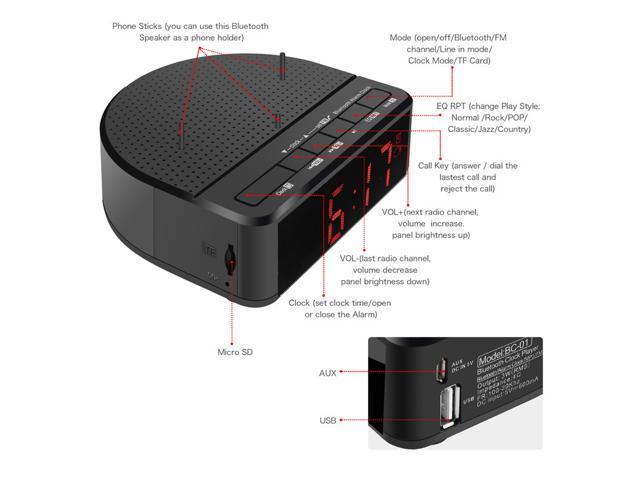 Digital Alarm Clock Radio with Bluetooth Speaker Red Digit Display with 2  Dimmer FM Radio USB Port Bedside Led Alarm Clock with Holder Stand -