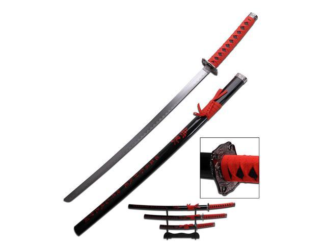Red New Japanese 3 Pc Samurai Sword Set with Wooden Display Stand