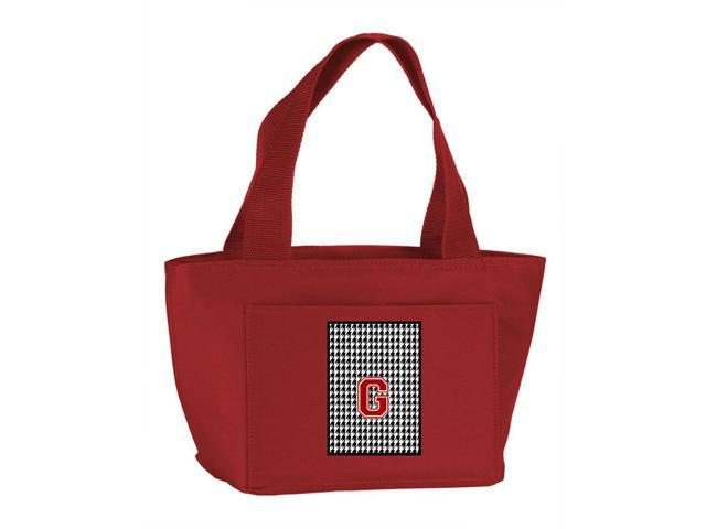 7c205e1409 Letter G Monogram - Houndstooth Black Zippered Insulated School Washable  and Stylish Lunch Bag Cooler CJ1021