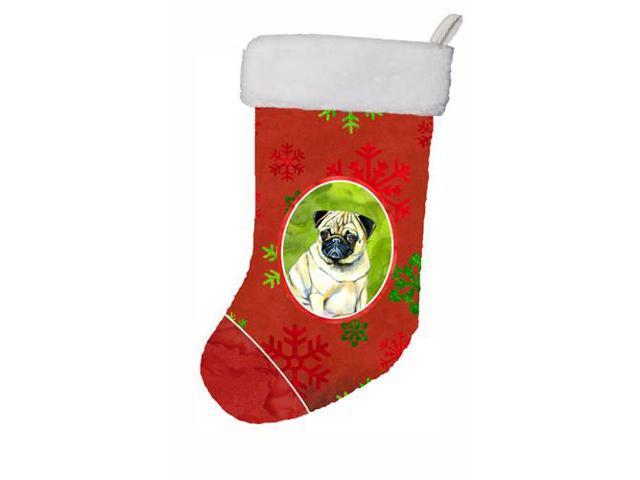 Pug Red and Green Snowflakes Holiday Christmas Christmas Stocking LH9342