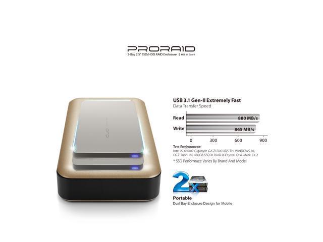 "Mediasonic ProRaid USB-C 2 Bay 2 5"" SATA SSD / Hard Drive Enclosure – USB  3 1 Gen 2 10Gbps Speed / USB Type C (HUR6-SU31C) (Gold) - Newegg com"