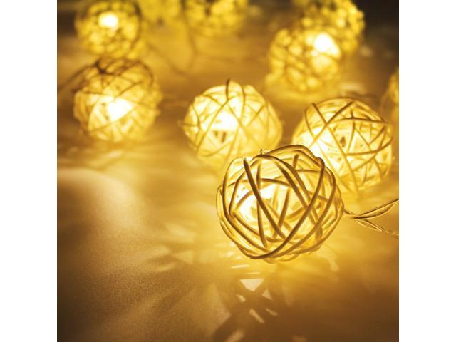 Rattan Ball Led Christmas String Lights W Adapter 29ft Length Warm White 40pcs For Holiday Party Event Decorative