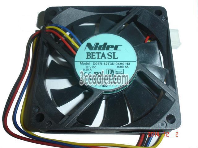 NIDEC 7015 70*15mm D07R-12T3U 12V 0.29A 4 Wires 4 Pins Case Fan 7CM ...