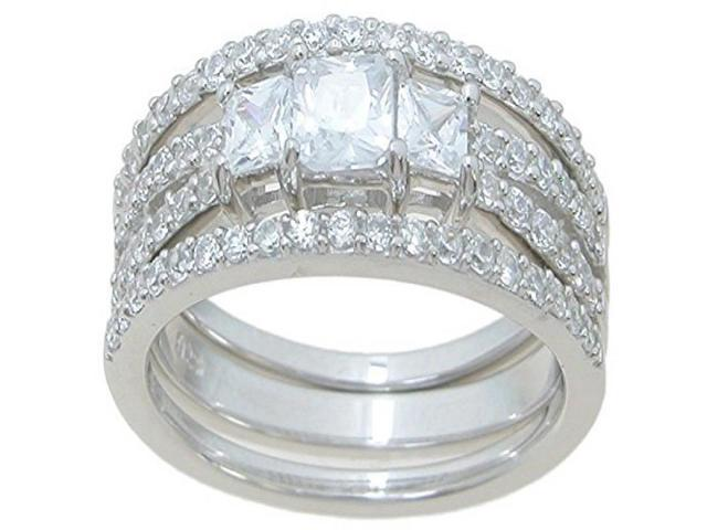 Plutus Sterling Silver Double Band Wedding Ring Set - Newegg.com