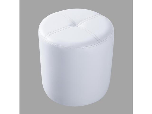 Fabulous Pilaster Designs Round Ottoman Stool White Vinyl Machost Co Dining Chair Design Ideas Machostcouk