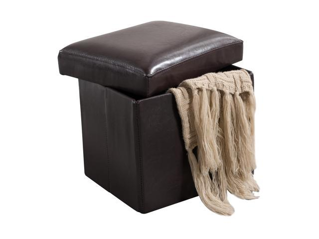 Super Pilaster Designs Brown Faux Leather Folding Storage Ottoman Bench Footstool Newegg Com Cjindustries Chair Design For Home Cjindustriesco