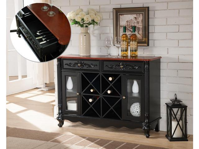 new concept a9203 f670d Black & Walnut Wood Wine Rack Sideboard Buffet Display Console Table With  Storage Drawers & Glass Cabinet Doors - Newegg.com