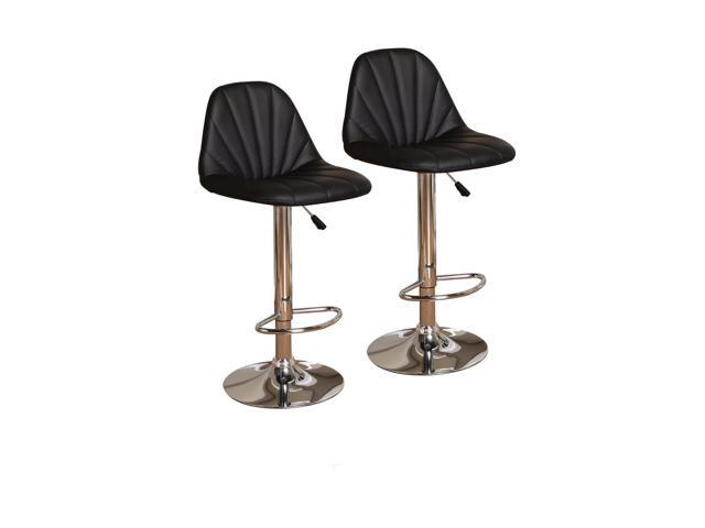 Admirable Set Of Two Black Chrome Adjustable Height Bar Stools Machost Co Dining Chair Design Ideas Machostcouk