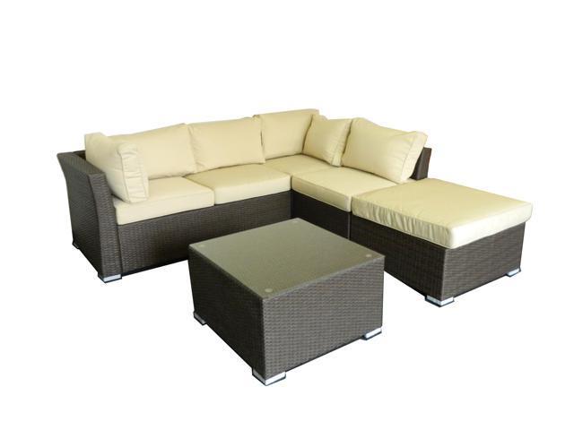 Jicaro 5 Pieces Outdoor Wicker Sectional Sofa Set - Rustic Dark Brown -  Newegg.com