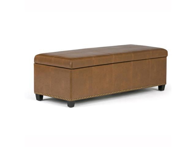 Fine Kingsley 48 Inch Wide Transitional Storage Ottoman In Burnt Umber Tan Bonded Leather Short Links Chair Design For Home Short Linksinfo