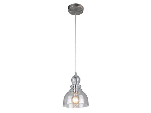 Westinghouse 61007 1 Light Brushed Nickel With Handn Clear Seeded Gl Fixture 1lt Mini Pend Bn Newegg