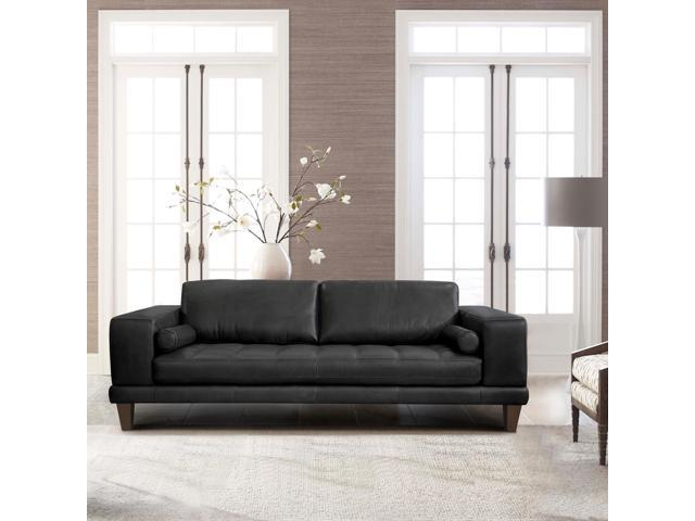 Armen Living Wynne Contemporary Sofa in Genuine Black Leather with Brown  Wood Legs