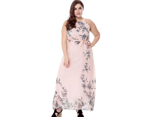FashionTIY Women New Design Bohemian Style Trendy Flower Printed Sleeveless  Beach Vacation Plus Size Sweet Long Dress - Newegg.com