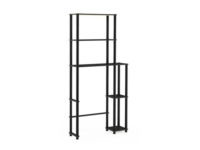 French Oak Grey//Black Furinno  Turn-N-Tube with 3 Shelves Toilet Space Saver