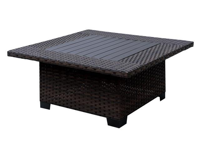 Stupendous Square Shaped Aluminum Wicker Coffee Table With Plank Short Links Chair Design For Home Short Linksinfo