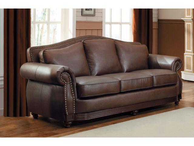 Phenomenal Bonded Leather Sofa With Rolled Arms And Camel Back Design Brown Newegg Com Ibusinesslaw Wood Chair Design Ideas Ibusinesslaworg