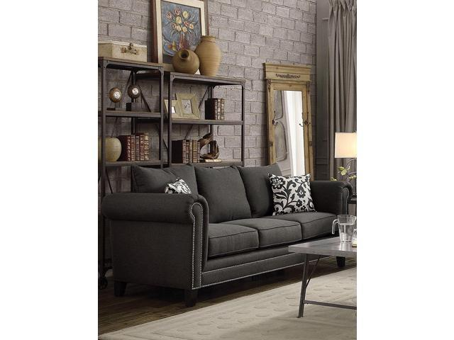 Enjoyable Transitional Linen Like Fabric Wood Sofa With Plush Rolled Arms Gray Newegg Com Gamerscity Chair Design For Home Gamerscityorg