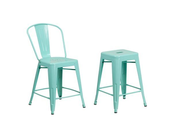 Surprising Flash Furniture 24 High Mint Green Metal Indoor Outdoor Counter Height Stool With Back And Counter Height Stool Squirreltailoven Fun Painted Chair Ideas Images Squirreltailovenorg