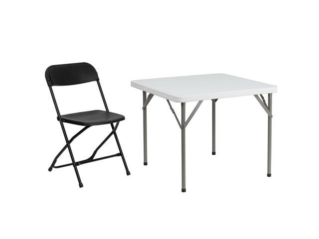 Peachy Flash Furniture Hercules And Trade Series Folding Chair With 34 Square Granite White Plastic Folding Table Newegg Com Interior Design Ideas Apansoteloinfo