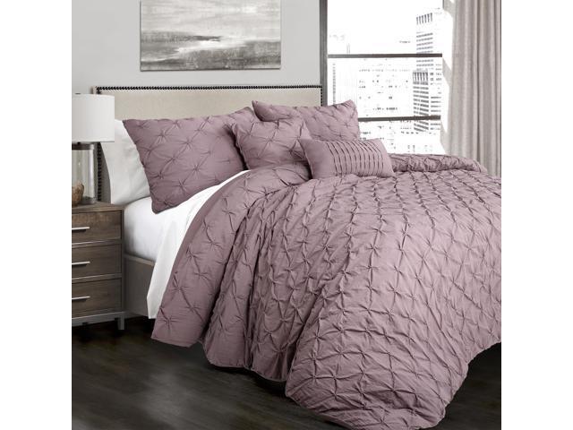 Lush Decor Ravello Pintuck 5 Piece Comforter Set King Woodrose