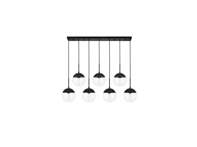 eclipse 7 lights black pendant with clear glass