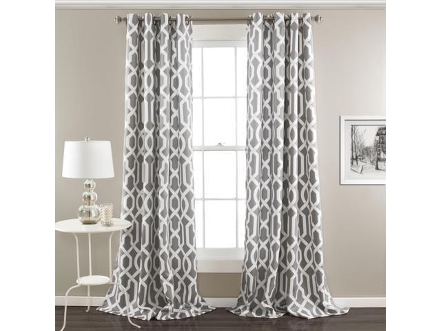 Lush Decor Edward Trellis Room Darkening Window Curtain Panel Pair 108 Inch X 52 Gray Set Of 2