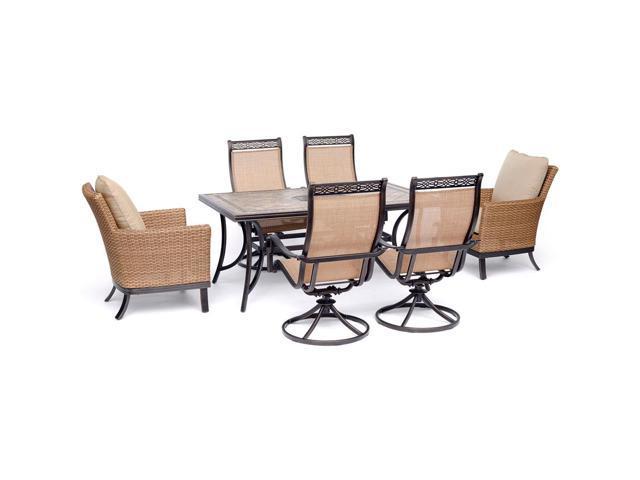 Fine Hanover Monaco 7 Piece Patio Dining Set With 2 Woven Frankydiablos Diy Chair Ideas Frankydiabloscom