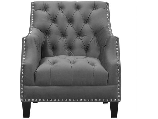 Sensational Eudora Tufted Accent Chair With Nail Trim In Charcoal Newegg Com Onthecornerstone Fun Painted Chair Ideas Images Onthecornerstoneorg