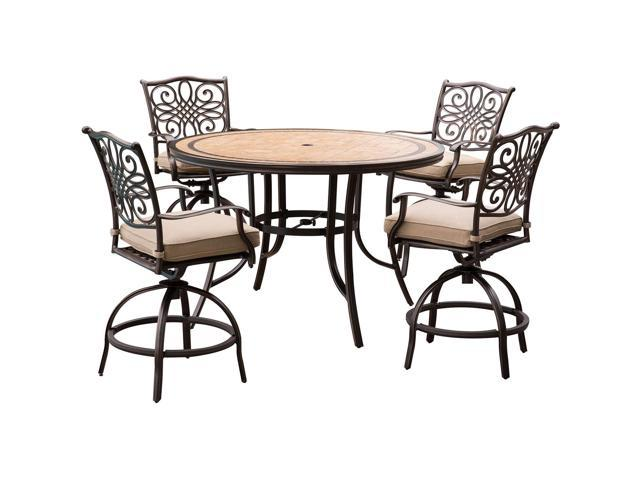 Remarkable Hanover Monaco 5 Piece High Dining Set In Tan With 6 Swivel Chairs And A 56 In Tile Top Table Andrewgaddart Wooden Chair Designs For Living Room Andrewgaddartcom