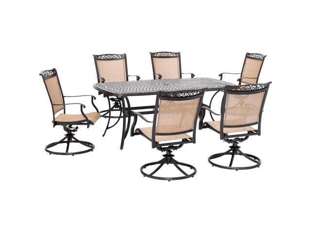Groovy Fontana 7 Piece Outdoor Dining Set With 6 Sling Swivel Rockers And A 38 In X 72 In Cast Top Table Frankydiablos Diy Chair Ideas Frankydiabloscom