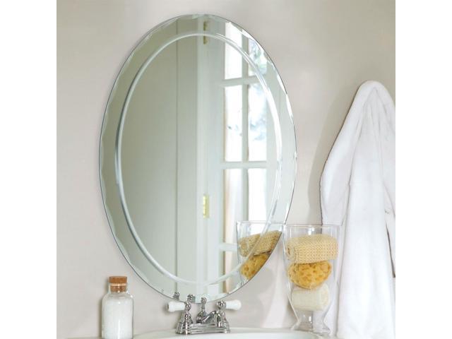 Oval Frameless Bathroom Vanity Wall Mirror With Beveled Edge Scallop Border Newegg