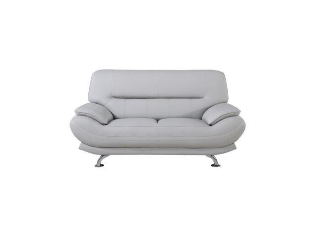 Groovy Faux Leather Upholstered Wooden Loveseat With Pillow Top Armrest Light Gray And Silver Gmtry Best Dining Table And Chair Ideas Images Gmtryco