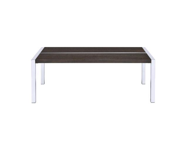 Rectangle Wooden Top Coffee Table With Straight Metal Legs Espresso Brown