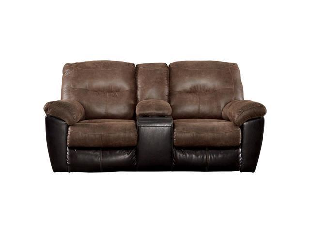 Amazing Polyester And Faux Leather Upholstered Metal Reclining Loveseat With Console Brown Newegg Com Machost Co Dining Chair Design Ideas Machostcouk