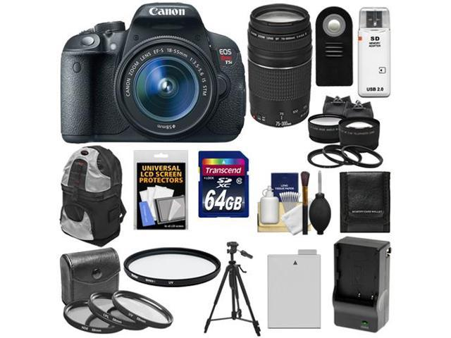 Canon EOS Rebel T5i Digital SLR Camera & EF-S 18-55mm IS STM Lens with EF  75-300mm III Lens + 64GB Card + Battery + Backpack + 2 Lenses + Accessory
