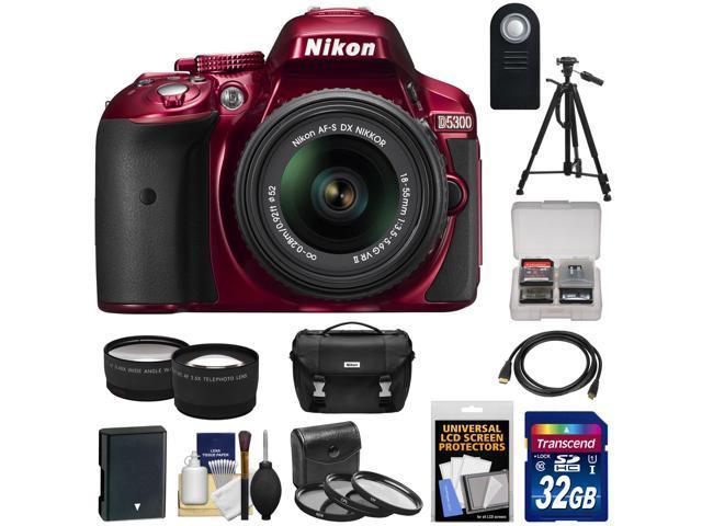 Nikon D5300 Digital SLR Camera & 18-55mm G VR DX II AF-S Zoom Lens (Red)  with 32GB Card + Battery + Case + Tripod + Tele/Wide Lens Kit - Newegg com