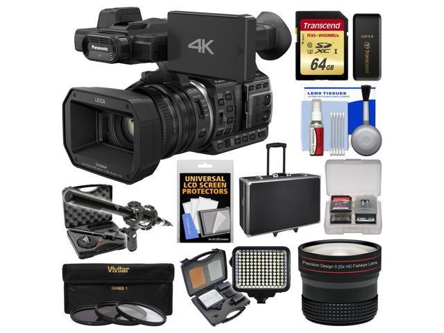 Panasonic HC-X1000 4K Ultra HD Wi-Fi Video Camera Camcorder with Fisheye  Lens + 64GB Card + Case + LED Light Set + Microphone Set + Accessory Kit -