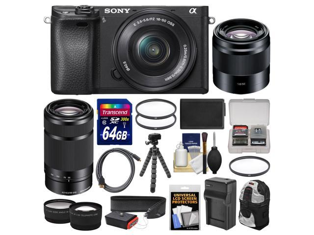 Sony Alpha A6300 4K Wi-Fi Digital Camera & 16-50mm, 55-210mm, & 50mm Lenses  (Black) with 64GB Card + Case + Battery & Charger + Flex Tripod + Kit -