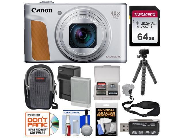 Canon Powershot Sx740 Hs Wi Fi Digital Camera Silver With 64gb Card Battery Charger Case Tripod Strap Kit Newegg Com