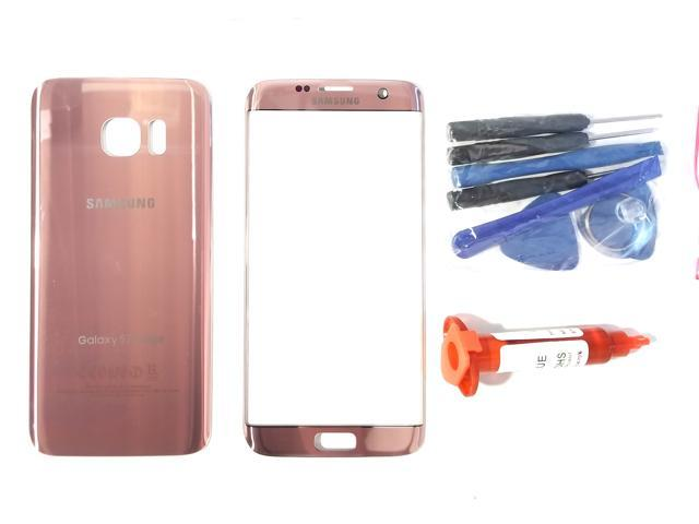 meet 5698b a3470 OEM Samsung Galaxy S7 Edge Pink Rose Gold Front Outer Glass Lens Screen  Back Glass Battery Cover Adhesive UV LOCA Glue Full LCD Digitizer Repair  Kit ...