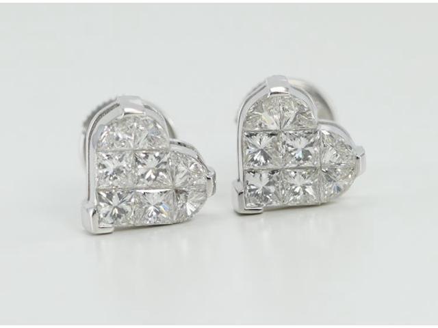 c20413ae32774 18k White Gold Invisible Setting Princess Cut Diamond Heart Earrings (1.5  Ct, G Color, VS Clarity) - Newegg.ca