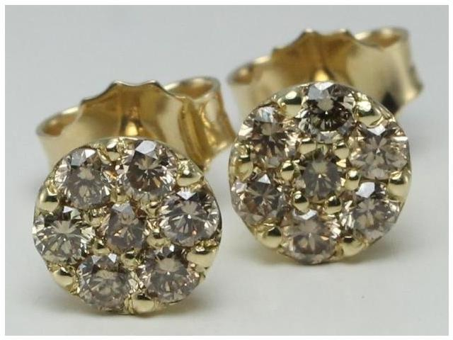 14k Yellow Gold Round Cut Cluster Set Diamond Stud Earrings 0 66 Ct Natural Fancy Brown Color I1 Clarity Newegg Com