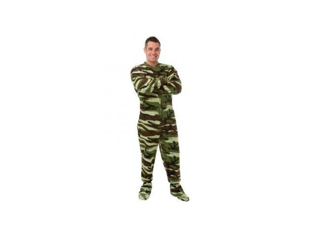 617bdc2d93 Big Feet Pjs Green Camo Camouflage Micro Polar Fleece Adult Footie Footed  Pajamas
