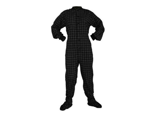 8f355bd951 Big Feet Pjs Black   White Cotton Plaid Flannel Adult Footie Footed Pajamas