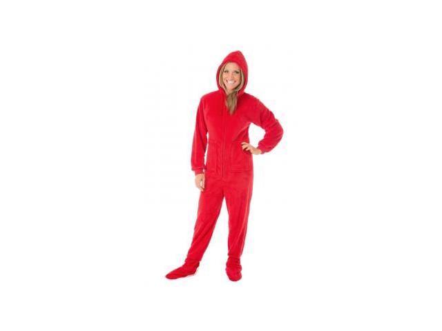 Big Feet Pjs Christmas Red Plush Adult Hooded Hoodie Footed Pajamas 15e7e84eb