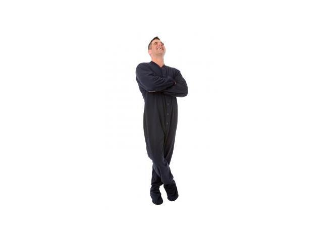 a3783428ae Big Feet Pjs Navy Blue Micro Polar Fleece Adult Footie Footed Pajamas