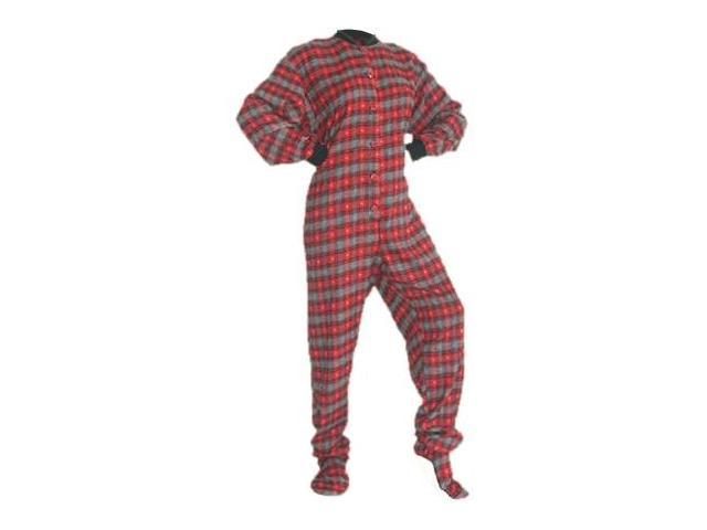 2fb68543b102 Red   Black w  Gray Hearts Cotton Flannel Adult Footie Footed Pajamas W   Drop Seat - Newegg.com