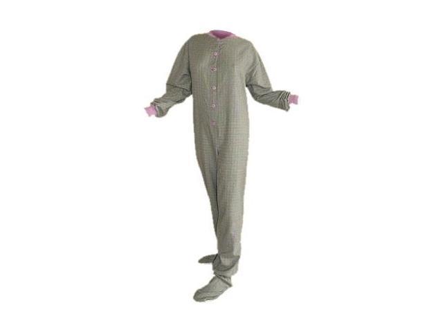 f27780e9ebda Seafoam Green   Lavendar Plaid Cotton Flannel Adult Footie Footed Pajamas  W  Drop Seat - Newegg.com