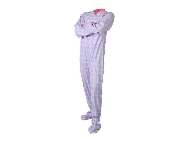 1fe6b3f92ad7 Baby Blue   Pink Plaid Cotton Flannel Adult Footie Footed Pajamas ...