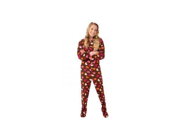 e96412bcf8 Chocolate Brown w  Hearts Micro Polar Fleece Adult Footie Footed Pajamas  Loungewear W  Drop